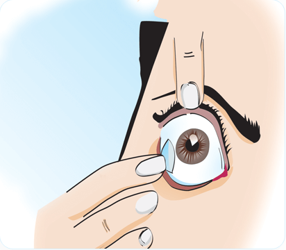 how to insert contact lense step 5